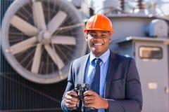 Electrical manager binoculars Stock Photo