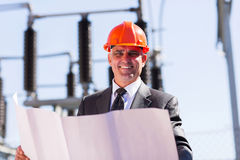 Electrical manager blueprint Stock Photography