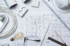 Electrical Master Equipment On House Plans. stock photos