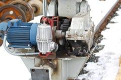 Electrical mechanical actuator wheel gantry crane Stock Image