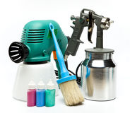 Electrical and mechanical, manual spray gun for pulverization of color Stock Photos