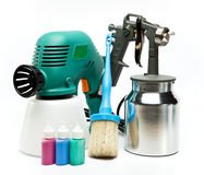 Electrical and mechanical, manual spray gun for pulverization of color Stock Photography
