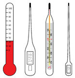 Electrical and mercury thermometers. Two electrical and two mercury thermometers Stock Photography