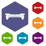Electrical modern gyroboard icons set hexagon Royalty Free Stock Photo