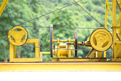 Electrical motor working. With background tree stock photography