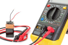 Electrical multimeter to check the resistance. Royalty Free Stock Photos