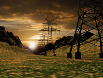 Electrical net. High voltage electric pillars being a part of a network, through fields and mountains Stock Photos