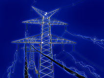 Electrical net. High voltage electric pillars being a part of a network Stock Images