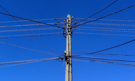 Electrical old wooden powerlines with blue sky feb 11, 2015 Stock Image