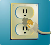 Electrical outlet. And plug, wall socket US style Stock Images