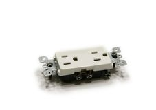 Electrical Outlet. Picture of the electrical outlet isolated on the white background Stock Photo