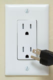 Electrical Outlet with cable Stock Photography