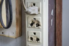 Electrical outlet damaged royalty free stock image