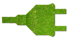 Electrical outlet on grass green energy concept Royalty Free Stock Images