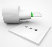 Electrical outlet in a horizontal position Royalty Free Stock Image