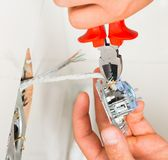 Electrical Outlet Installation Royalty Free Stock Images