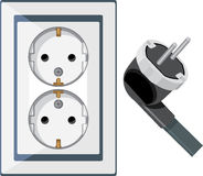 Electrical outlet and plug isolated on the white Royalty Free Stock Image
