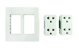 Electrical outlet (socket plug) on white background Stock Images