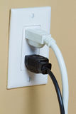 Electrical Outlet with two cable Stock Image