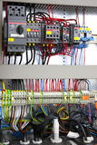 Electrical panel. New control panel with static energy meters and circuit-breakers Stock Image