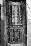 Electrical Panel in Abandoned Automotive Factory - Black and White Royalty Free Stock Photo