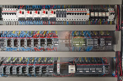 Electrical panel. At a assembly line factory. Controls and switches Royalty Free Stock Photo