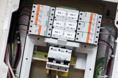 Electrical panel with automatic circuit breakers Royalty Free Stock Images