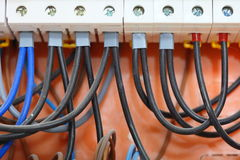 Electrical panel box with fuses and contactors Royalty Free Stock Photo
