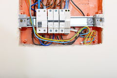 Electrical panel box with fuses and contactors. Electrical installation. Close up electrical panel electricity distribution box with wires fuses and contactors royalty free stock photo
