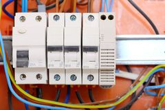 Electrical panel box with fuses and contactors Royalty Free Stock Images
