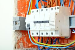 Electrical panel box with fuses and contactors Royalty Free Stock Photos