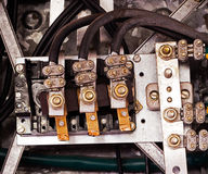 Electrical panel and cables in the old factory. Electrical panel and cables in an old factory stock photography