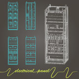 Electrical panel. Drawing of electrical panel at a assembly line factory. controls and switches Stock Images