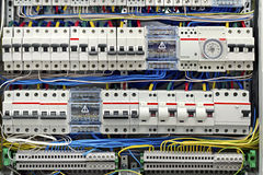 Electrical panel with fuses closeup Stock Photos