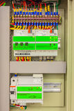 Electrical panel line, controls and switches, safety concept Royalty Free Stock Image