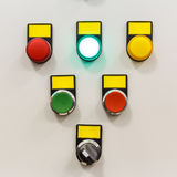 Electrical panel with multi-colored indicators Stock Photos