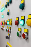 Electrical panel with multi-colored indicators Royalty Free Stock Image