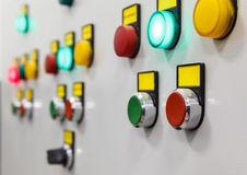 Electrical panel with multi-colored indicators Stock Images