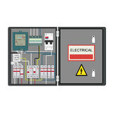 Electrical panel. Picture of the electrical panel, electric meter and circuit breakers vector illustration