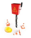 Electrical panel road cone hardhat Stock Images