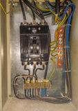 Electrical panel start or stop electricity Stock Photo