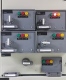 Electrical part and accessories in the control cabinet , control and power distributor. Lockout ,tagout stock photography
