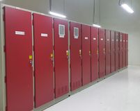 Electrical part and accessories in the control cabinet , control and power distributor. Lockout ,tagout stock photos