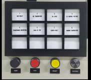 Electrical part and accessories in the control cabinet , control and power distributor. Lockout ,tagout royalty free stock photo