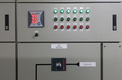 Electrical part and accessories in the control cabinet. Control and power distributor,lockout ,tagout stock image