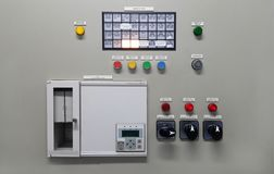Electrical part and accessories in the control cabinet , control and power distributor. Lockout ,tagout royalty free stock photography