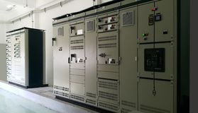Electrical part and accessories in the control cabinet. Control and power distributor,lockout ,tagout stock photo