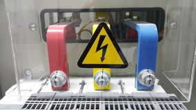 Electrical Part And Accessories In The Control Cabinet , Control Distributor,lockout ,tagout Royalty Free Stock Photos