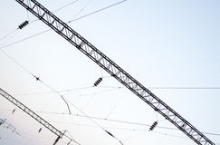 Electrical paths on the sky background Stock Images