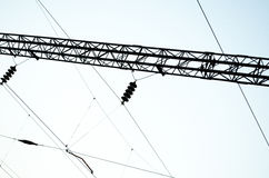 Electrical paths on the sky background.  Royalty Free Stock Photo